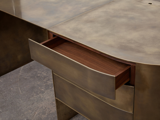 Brian Thoreen Brass Desk, image 5