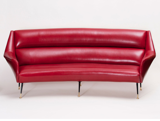 Italian Modernist Leather Sofa, image 2
