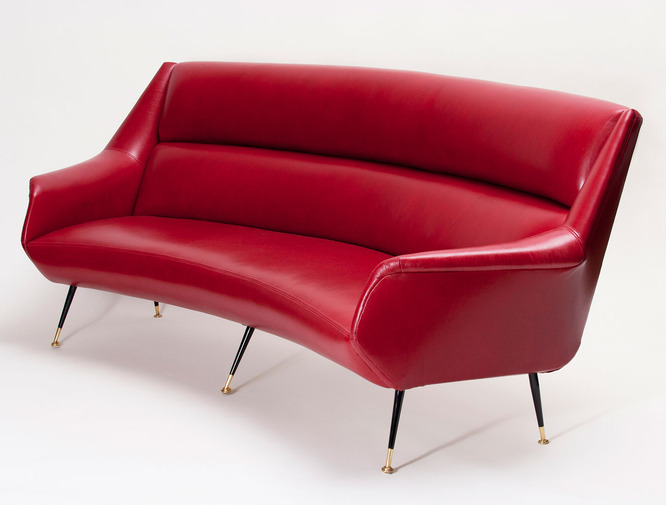 Italian Modernist Leather Sofa, image 1