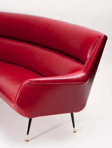 Italian Modernist Leather Sofa, image 5
