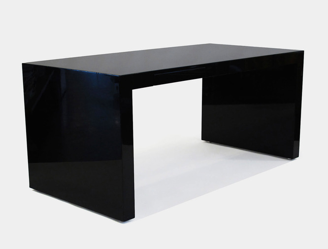"""Large black lacquered """"monolith"""" desk with tiny and elegant hidden"""