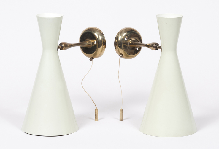 Pair of Lacquered Modernist Sconces, image 1
