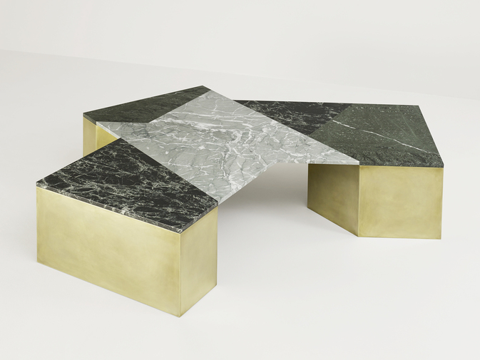 Brian Thoreen Mixed Marble Coffee Table - Green, image 2