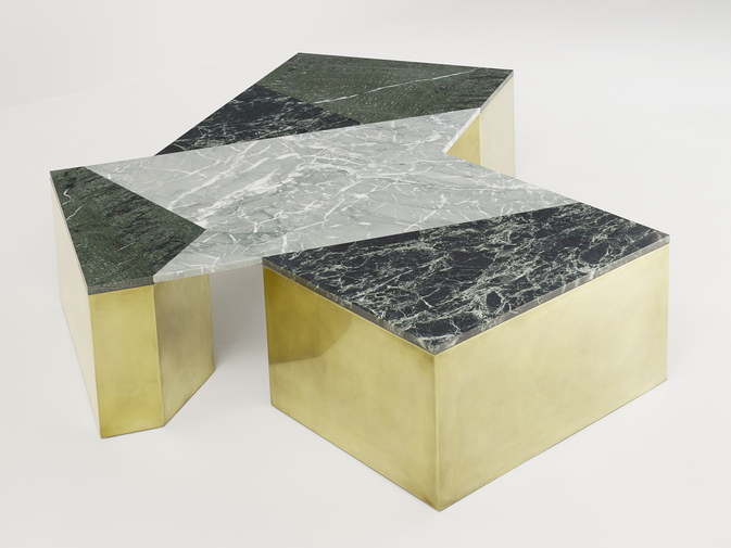 Brian Thoreen Mixed Marble Coffee Table - Green, image 3