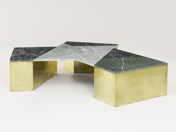 Brian Thoreen Mixed Marble Coffee Table - Green, image 1