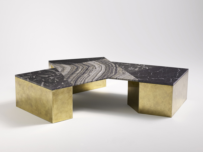 Brian Thoreen Mixed Marble Coffee Table - Black, image 1