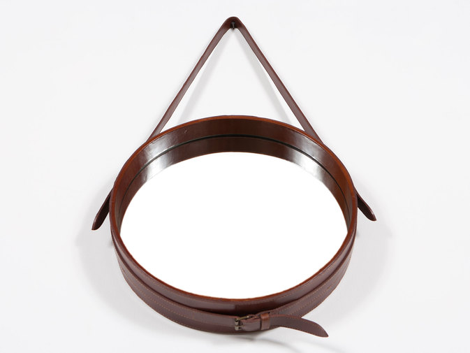Round Leather Hanging Wall Mirror, image 2