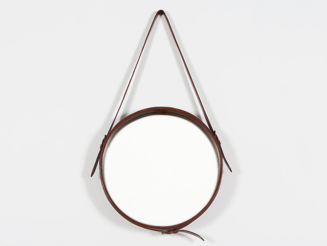 Round Leather Hanging Wall Mirror, image 1