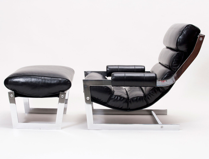 Modernist Leather Sling Chair with Ottoman, image 1