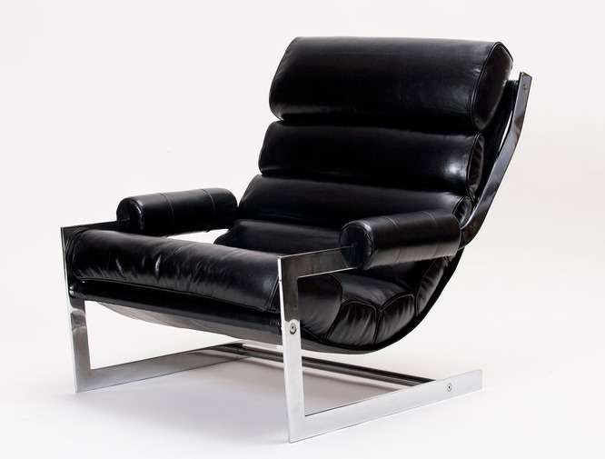 Modernist Leather Sling Chair with Ottoman, image 2