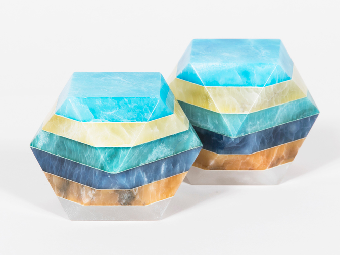 Geometric Alabaster Paperweights, image 1