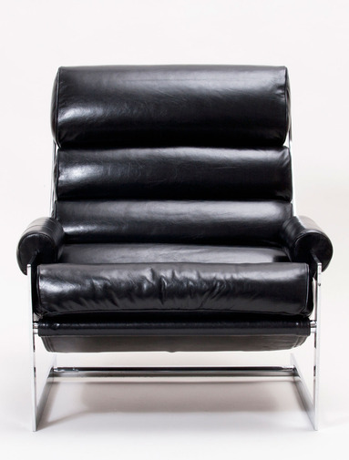 Modernist Leather Sling Chair with Ottoman, image 3