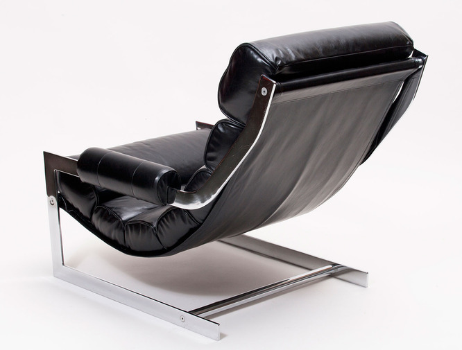 Modernist Leather Sling Chair with Ottoman, image 4