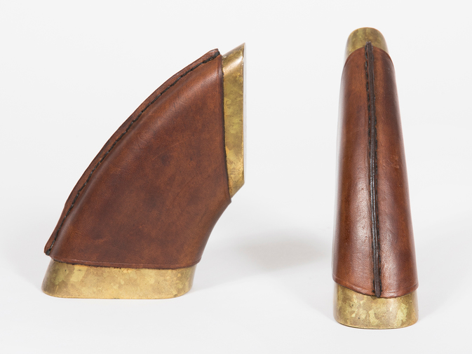Carl Auböck Brown Leather and Brass Bookends, image 4