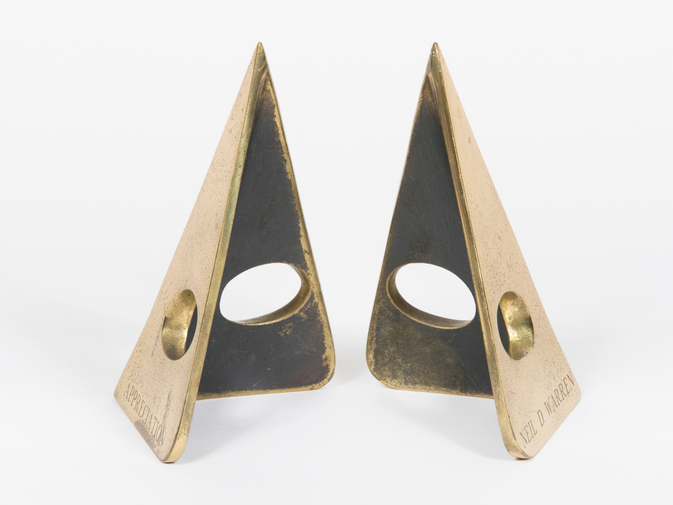 Carl Auböck Triangular Brass Bookends, image 1