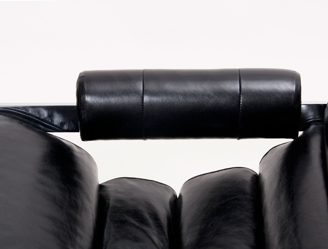 Modernist Leather Sling Chair with Ottoman, image 6