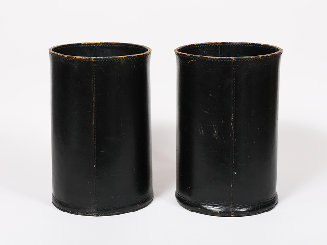 Carl Auböck Black Leather Wastebasket, image 1