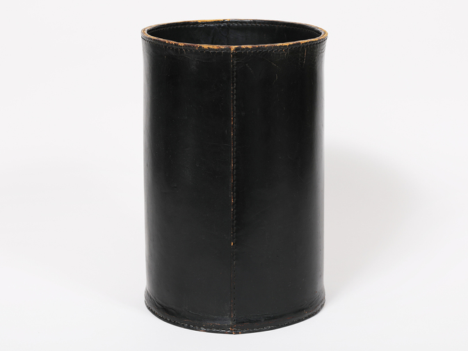 Carl Auböck Black Leather Wastebasket, image 2