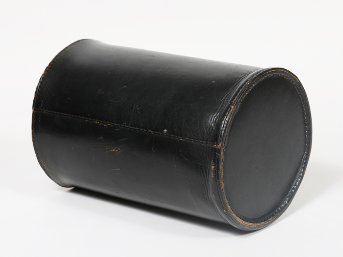 Carl Auböck Black Leather Wastebasket, image 6