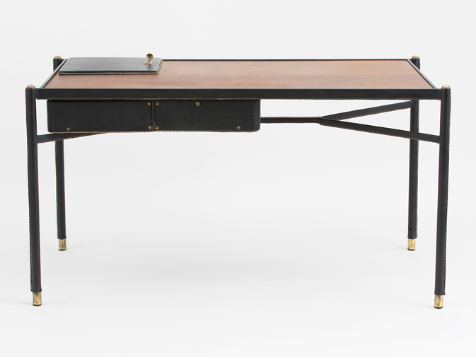 Jacques Adnet Leather Writing Desk, image 1
