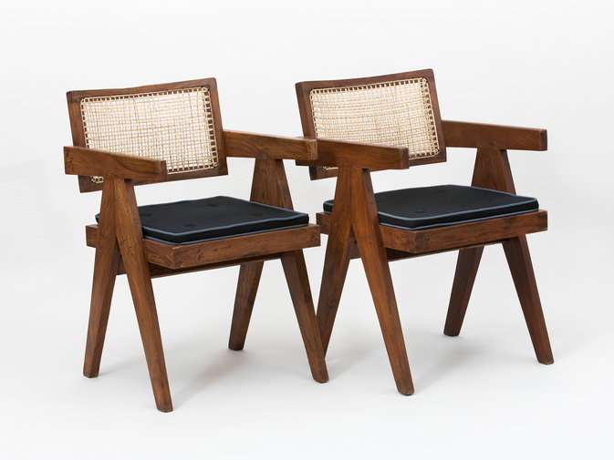 Pierre Jeanneret Set of Floating Back Armchairs, image 4