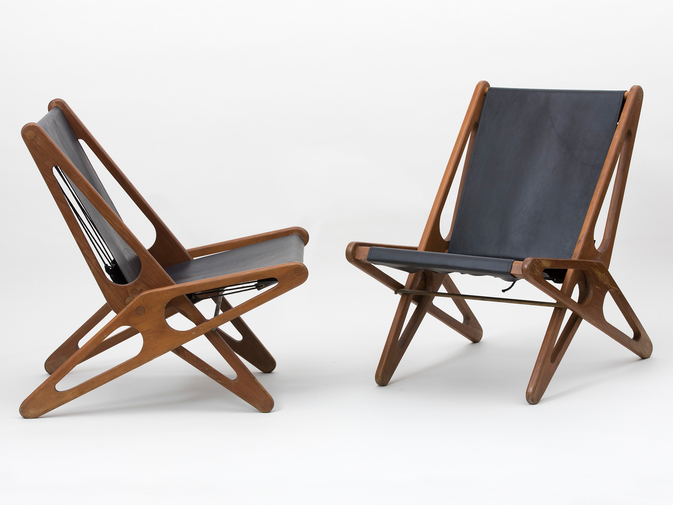 Ficks Reed Leather Folding Chairs , image 1