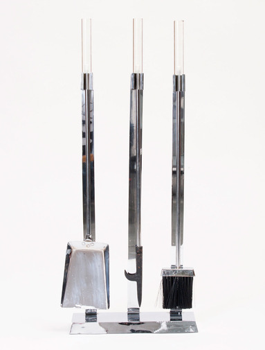 Lucite and Chrome Fire Tools, image 1